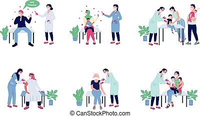 Patients receiving vaccine flat color vector faceless character set. Anti vax, no drug. Doctor visit. Health care isolated cartoon illustration for web graphic design and animation collection