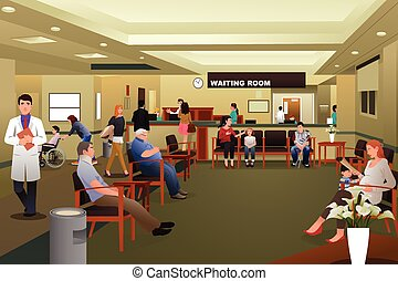 A vector illustration of patients waiting in a hospital waiting room