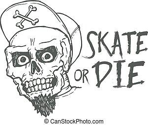 patin, tatouage, vendange, lettrage, mourir, illustration, t...