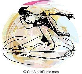 patinação, arena, mulher, coloridos, gelo, esportes,...