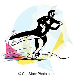patinação, arena, patinadores, coloridos, par, gelo,...