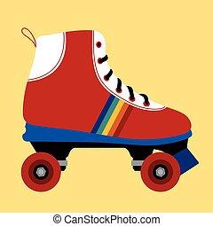 patinação, branca, sapato, vermelho
