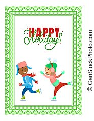 patinação, cartão postal, feriados, rink, crianças, feliz
