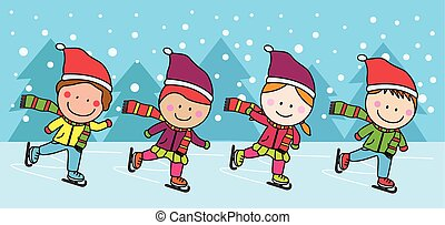 patinação, crianças, gelo