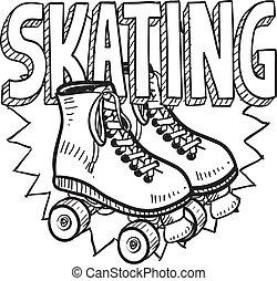 patinação, esboço, rolo
