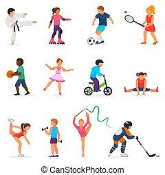 patinação, esportiva, futebol, jogo, atividade, dançar, menino, branca, personagem, isolado, ilustração, ou, crianças, vetorial, hóquei, fundo, criança, menina, desporto, tocando, crianças