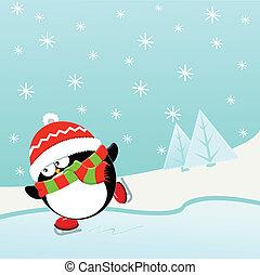 patinação, gelo, pingüim
