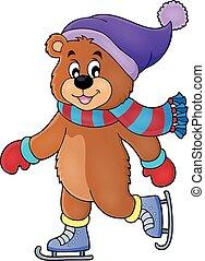 patinação, imagem, urso, 1, tema, gelo