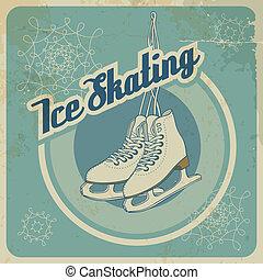 patinação, ise, retro, cartão