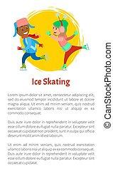 patinação, jogo, inverno, junto, campo gelo patinagem gelo, crianças