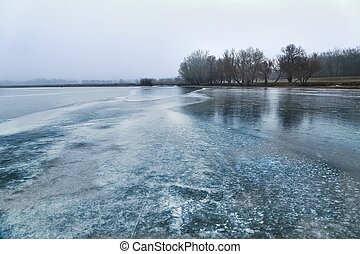 patinação, ligado, um, lago