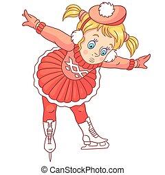 patinação, menina, caricatura