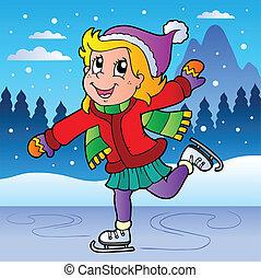 patinação, menina, cena inverno