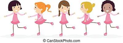 patinação, meninas, crianças, stickman, figura, ilustração