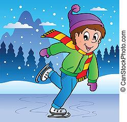 patinação, menino, cena inverno