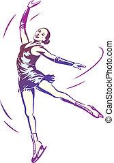 patinação, mulher, figura