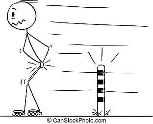 patinação, seu, golpe, testicles, quando, caricatura, vetorial, inline, poste, passagem, estrada, homem
