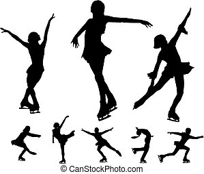 patinação, vectors, figura