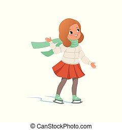 patinação, vetorial, ilustração, morno, gelo, fundo, menina, encantador, branca, roupas