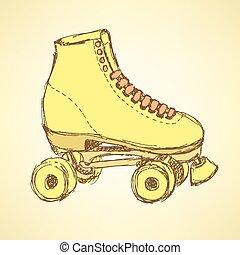 patinação, vindima, esboço, estilo, sapatos