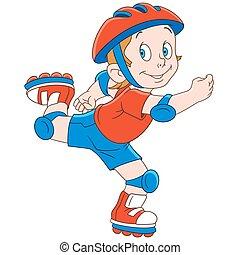 patinador, caricatura, niño, rodillo