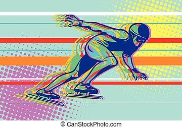 patinador, deportes, hielo, invierno, apresure patinar