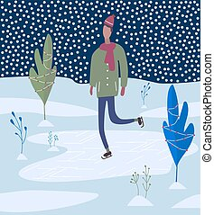 patinage, activities., hiver, jeune, glace, rink., homme