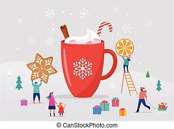 patinage, amusement, femmes, hiver, grande tasse, gens, grand, hommes, scène, glace, jeune, cacao, ski, neige, joyeux, petit, familles, noël, avoir, snowboarding, sledding