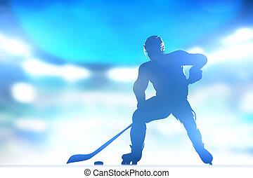 patinage, arène, lutin, lighs, joueur, hockey