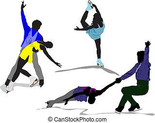 patinage, coloré, figure, silhouettes., illustration, vecteur