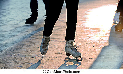 patinage, dehors, glace, femme, patinoire