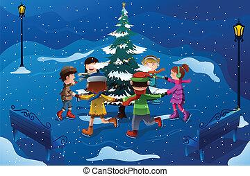 patinage, enfants, arbre, autour de, noël