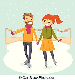 patinage, extérieur, couple, patinoire, caucasien blanc