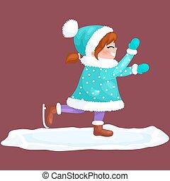 patinage, extérieur, hiver, isolé, glace, amusement, vecteur, illustration, joyeux, année, activité, nouveau, girl, vacances, noël, heureux