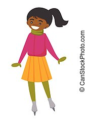 patinage, femme, african-american, outdoor., patinoire