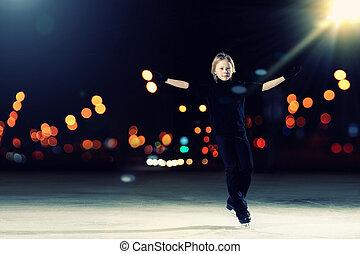patinage, garçon, jeune, figure