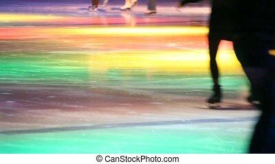 patinage, gens, dynamique, décapité, patinoire, illumination