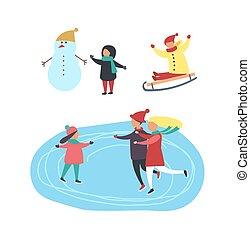 patinage, gens, jouer, vecteur, patinoire, enfants