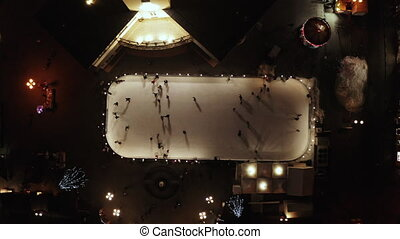 patinage, glace, gens, patinoire, vertical, evening., vue., ...