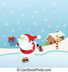 patinage, glace, santa