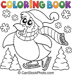 patinage, heureux, livre coloration, manchots