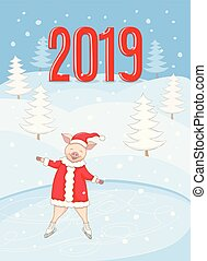 patinage, hiver, 2019, porcin, bannière santa, paysage