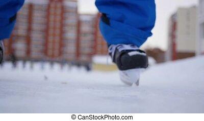 patinage, hiver, gens, flou, nuageux, anneau, ouvert, jour