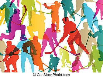 patinage, hiver, résumé, hommes, jeune, illustration, sports...
