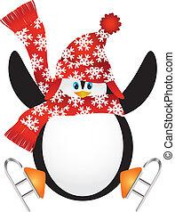 patinage, illustration, glace, santa chapeau, manchots