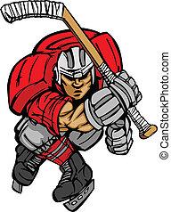 patinage, joueur, cartoo, vecteur, hockey
