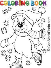 patinage, livre coloration, ours, glace
