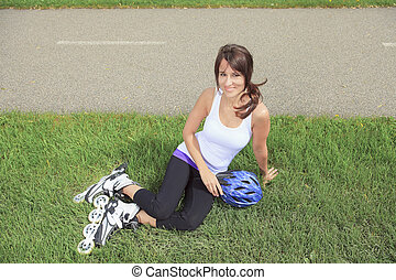 patinage, parc, rollerblading, inline, skates., girl, rouleau