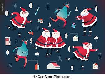 patinage, santa, clauses, -, illustration, deers, joyeux, année, nouveau, noël