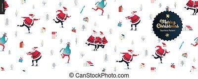 patinage, santa, clauses, modèle, -, seamless, deers, joyeux, année, nouveau, noël